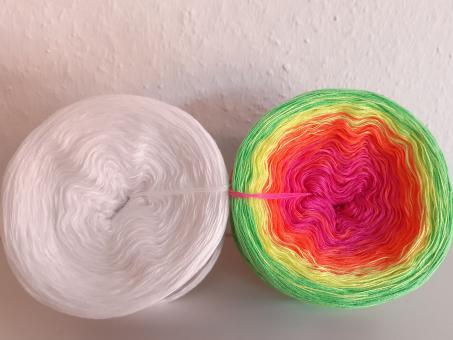 Farbverlaufsgarn Bobbel Neon mit Weiß